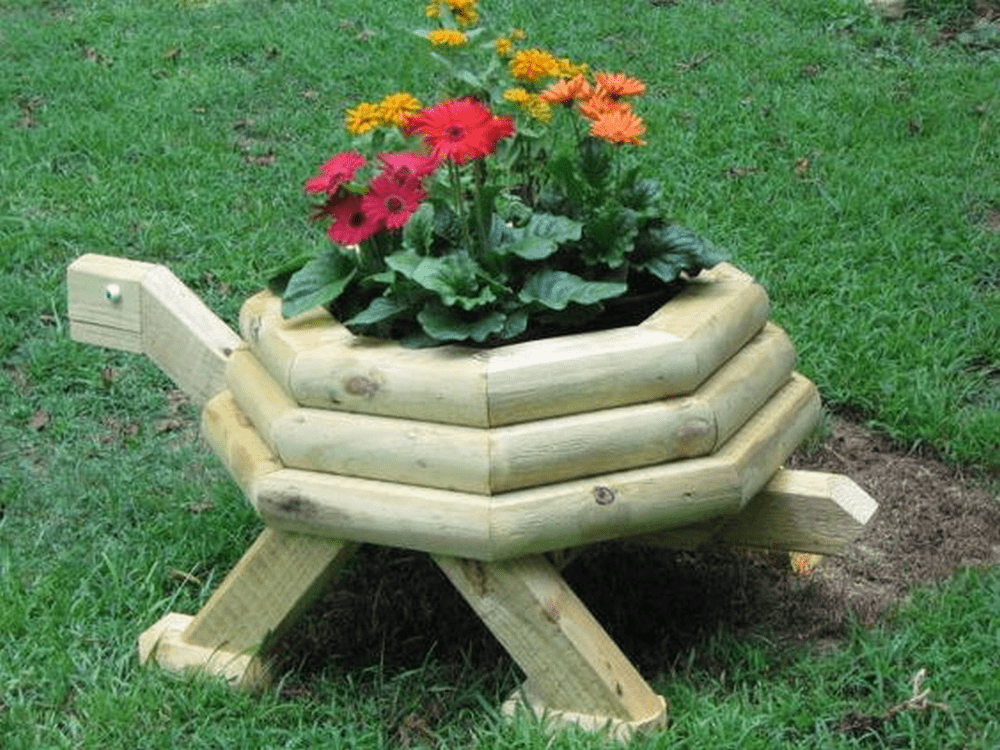 DIY Wooden Turtle Planter