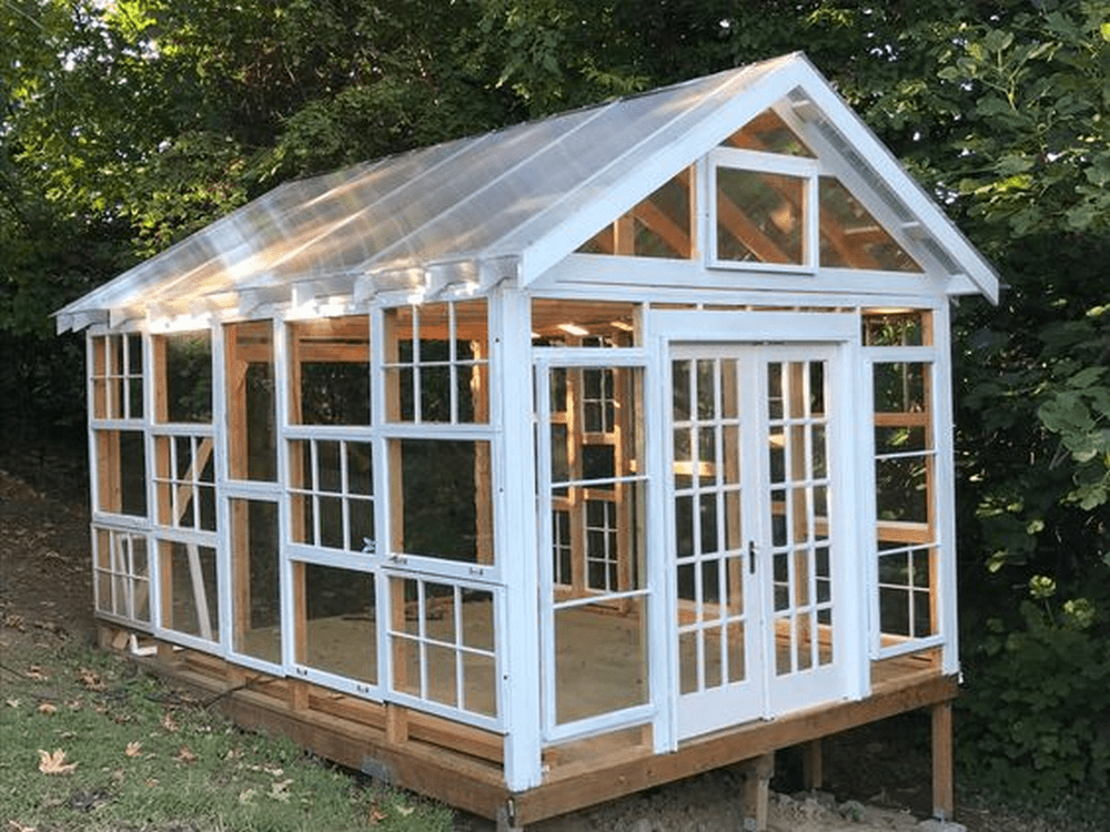 Did you know that you can use salvaged timber-framed windows to build a greenhouse?