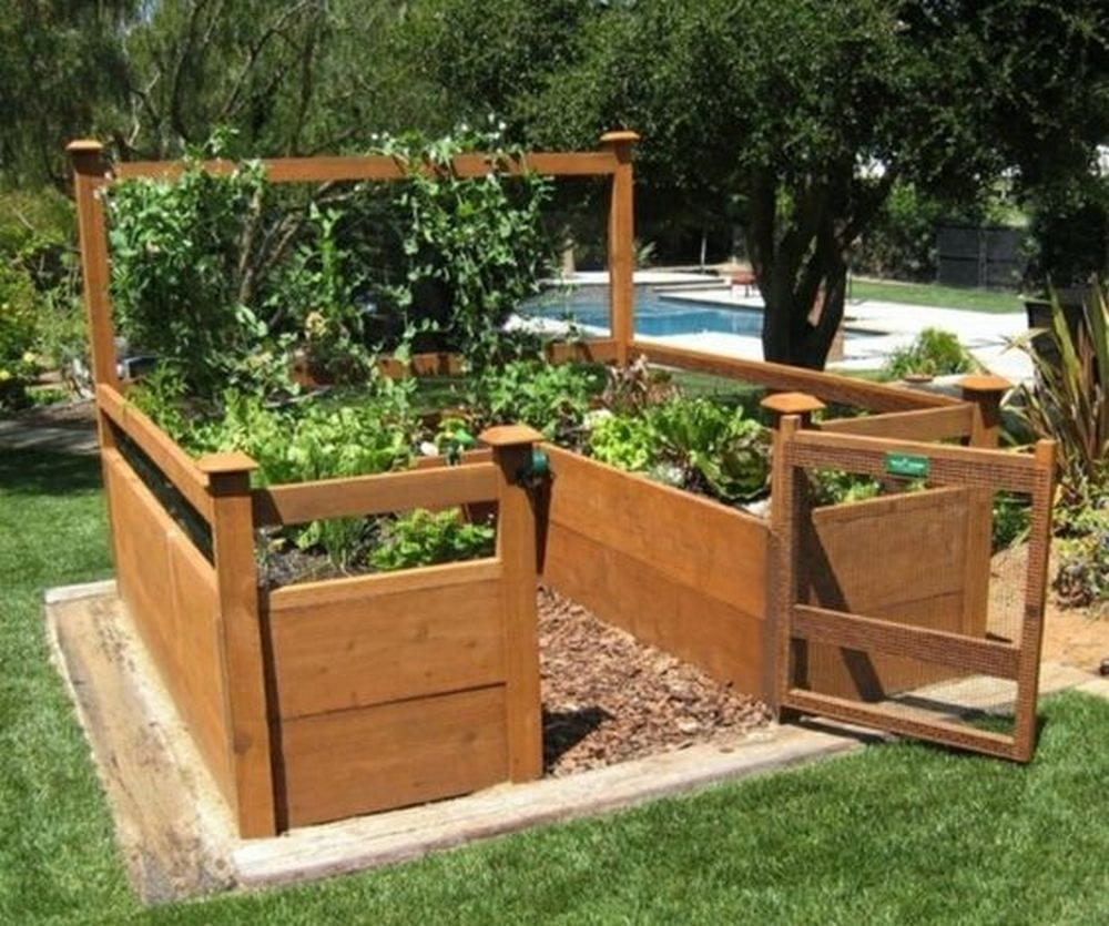 The raised bed means no more bending all the way down.