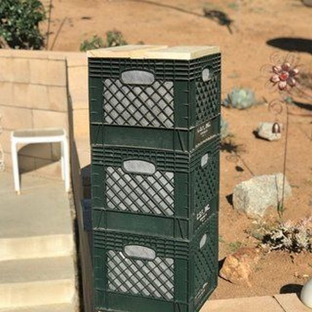 You can stack up these milk crate composters for easy access!