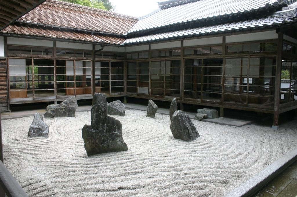 The Japanese Zen garden is a calming space designed to represent a landscape.