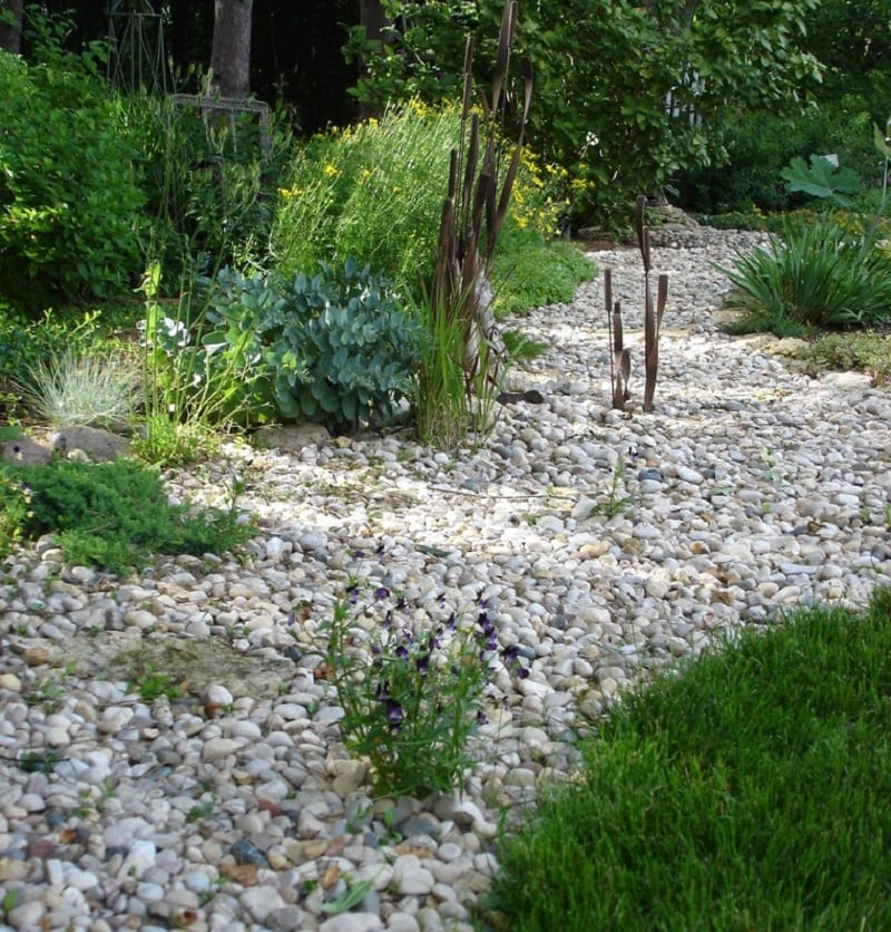 A dry creek bed is a trench that usually follows along a channel or the natural fall of the surface.