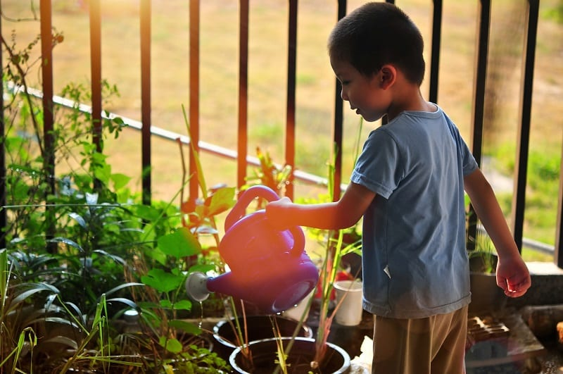 Gardening offers a wonderful opportunity for children to learn about responsibility.