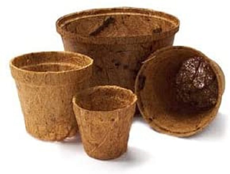 Coco coir biodegradable pots are made of coir fibers pressed into flower pot shapes.