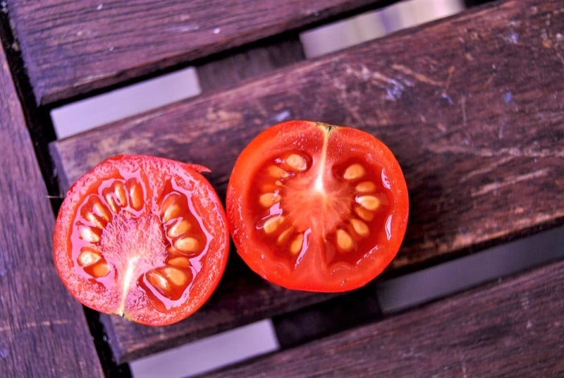 Fully ripe disease-free tomatoes are the best candidates for saving.