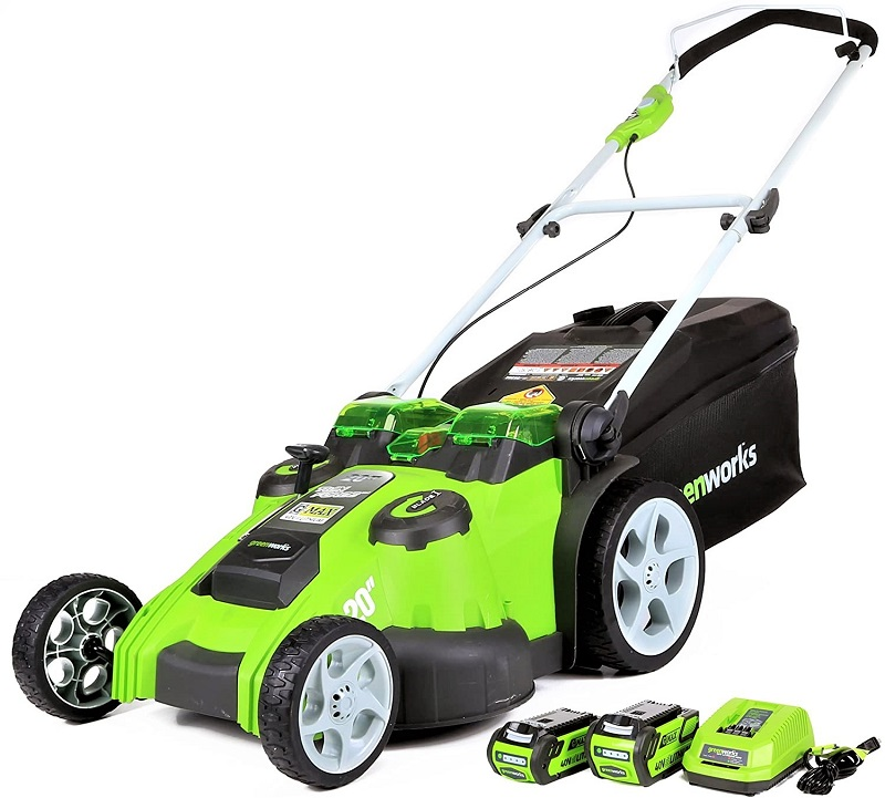 The GreenWorks Cordless Twin Force Mower has two separate cutting blades.