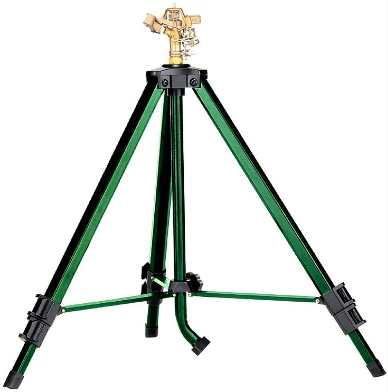 The Orbit 58308Z Brass Impact Sprinkler sits on a sturdy tripod that you can extend from 22 to 48 inches.