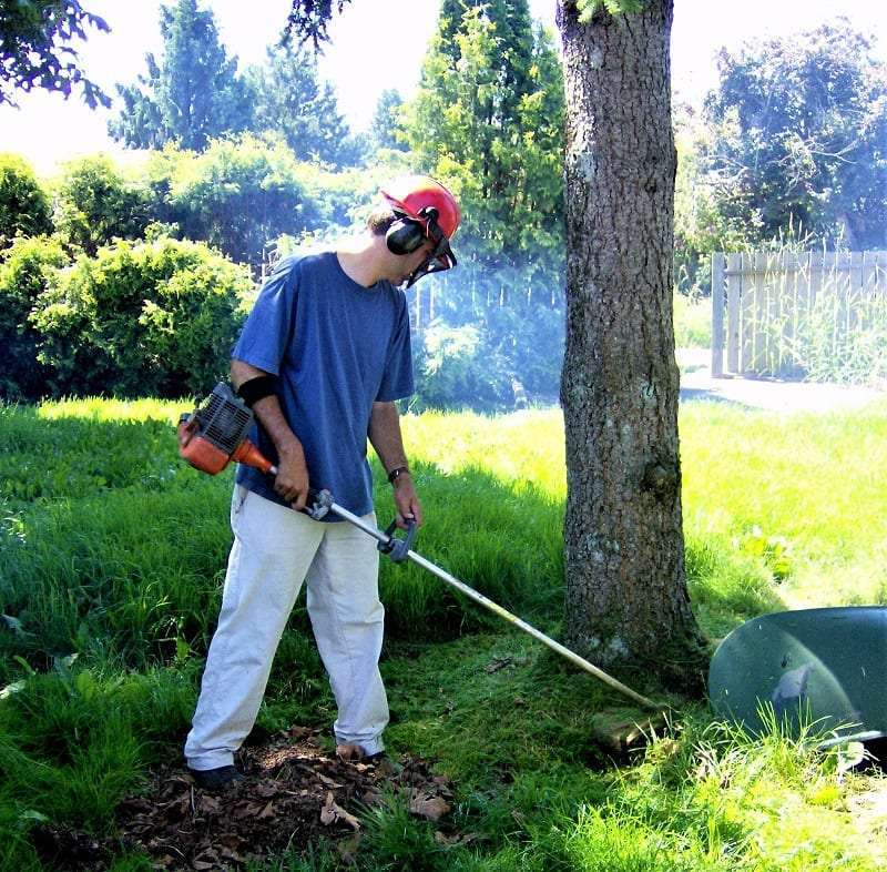 It's only with a string trimmer that you can cut the tall grass around steps, fences, trees, and flowerbeds.