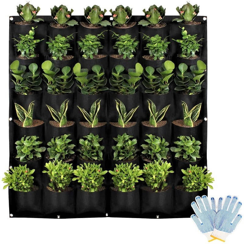 You can install the HilarityMax 36-pocket Vertical Planter indoors or outdoors. This inexpensive wall-mounted planter gives you the effect of a living wall.