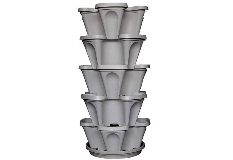 The Mr. Stacky 5-tier Stackable Planter is made out of food safe polypropylene material. You can grow strawberries, herbs, or vegetables on five levels with this system.