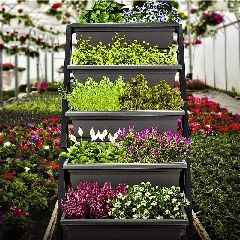 For bigger plants, consider Outland Living's Four-Foot Vertical Raised Garden Bed. The five-tier vertical garden features deeper, BPA-free green planters that are 22 inches wide.