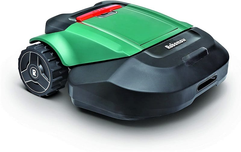 The Robomow RS630 Battery Powered Robotic Lawn Mower works within an electronic fence created by a boundary wire.