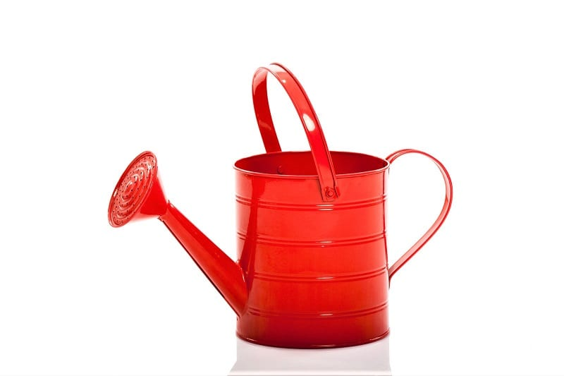 Watering a vertical garden is as simple as using a long-spout watering can, if you have the time.